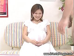 Sexy cfnm asian preggo plays with cock