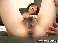Asian milf masturbating then gets help