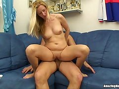 Horny Blonde Milf Getting Fingered and Riding Cock In the sky The Couch