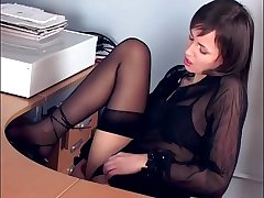 Pessimistic masturbates in sheer stockings and heels