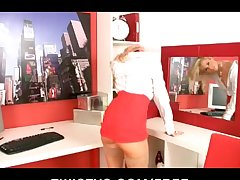 Horny hot young blonde incarcerate rubs her wet pussy elbow the office
