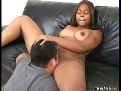 She gets a creampie in her black snatch