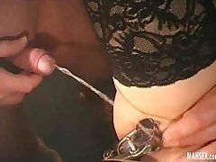 Blonde in black lingerie gets gynecological therapy