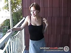 Busty milf Canadian Cassie flashing girlfriend outdoors