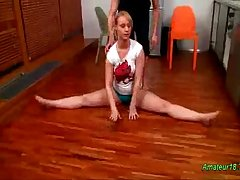 Flexible gymnast gets pounded