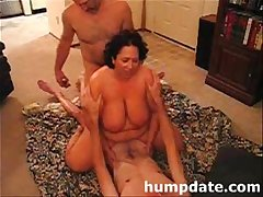 Hubby shares his busty wife with their date