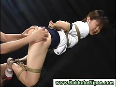 Japanese teen gets bukkake and tied up in groupsex