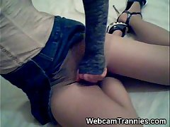 Pantyhosed Shemale Teen on Cam!