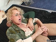 Naughty grandma gives up the brush pussy