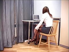 Secretary sex down sheer crotchless pantyhose