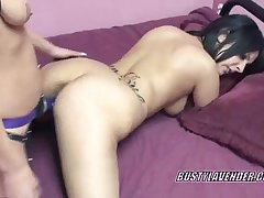 Latina Cristal takes a strapon from a horny slut
