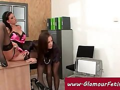 Secretary plays with dildo at the office