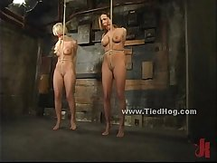 Sexy blonde slut immobilized and bound