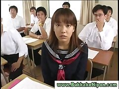 Real amateur japanese babe gets bukkake in reality gangbang