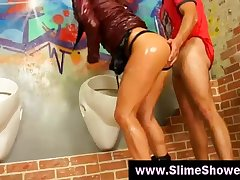 Messy gloryhole wet slime shower