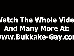 Gay gets bukkake after getting fucked