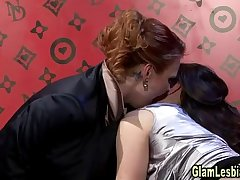 Glamorous lesbian in stockings gets off