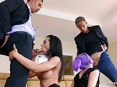 A handful of couples arrange swinger sex in the living room