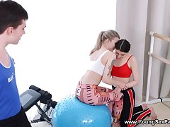 Gym is just the place hither have 3some with two teens