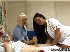 Lucky old CFNM guy sucked by 2 naughty British nurses