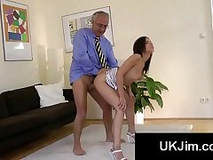 Booty young beauty moans like slut with grandpas big cock