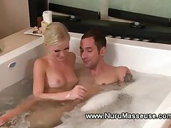 Sexy blond knows what she is doing during his erotic massage