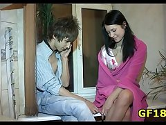 He pushes hard cock encircling pussy of happy teen cutie from the behind