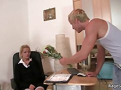 He bangs his GF rough apposite in the office