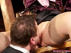Glamorous babe in stockings gives guy a blowjob and get her pussy eaten